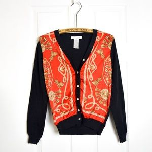 WD.NY Red Scarf Cardigan Sweater holiday
